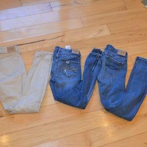 Abercrombie jeans skinny 3pr sz 0 distressed tan